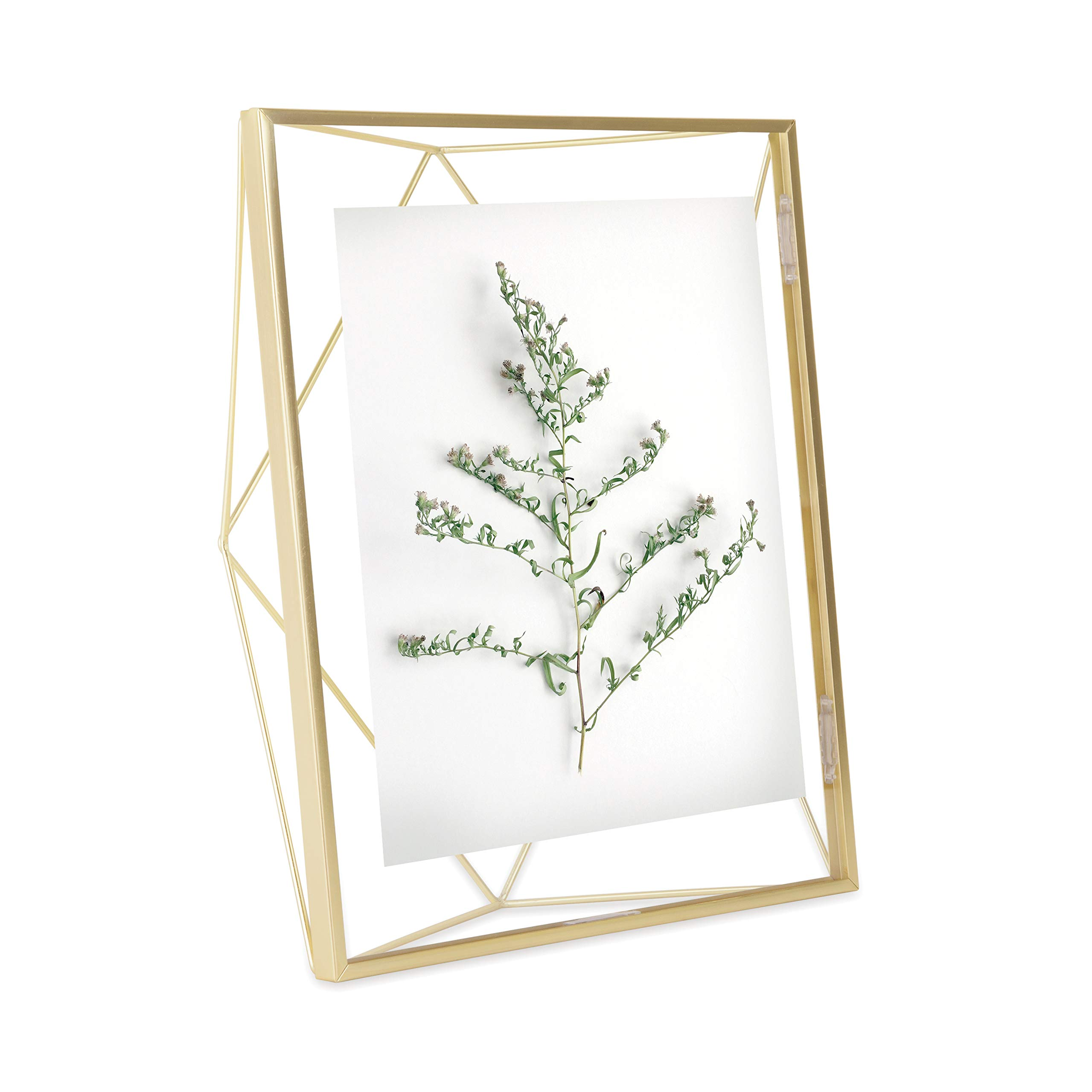 Umbra Prisma Picture Frame, 8x10 Photo Display for Desk or Wall, Brass by Umbra