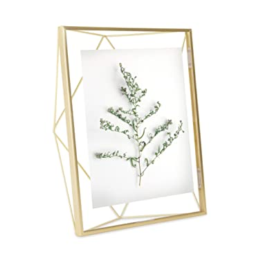 Umbra Prisma 8x10 Picture Frame – Geometric Wire Photo Frame for Desktop or Wall, Matte Brass