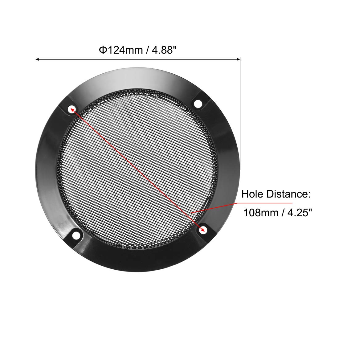 uxcell 2pcs 4 inches Speaker Grill Mesh Decorative Circle Woofer Guard Protector Cover Audio Parts Black