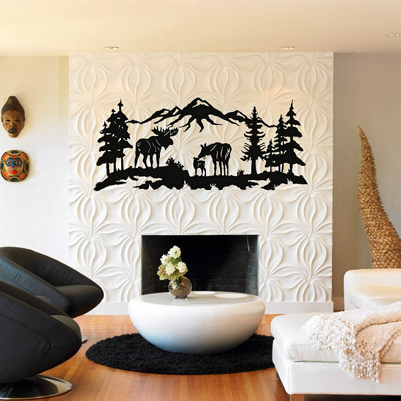 "Metal Wall Art, Metal Moose Art, Nature Wall Art, Metal Tree Decor, Metal Wall Decor (40""W x 17""H / 100x44 cm)"