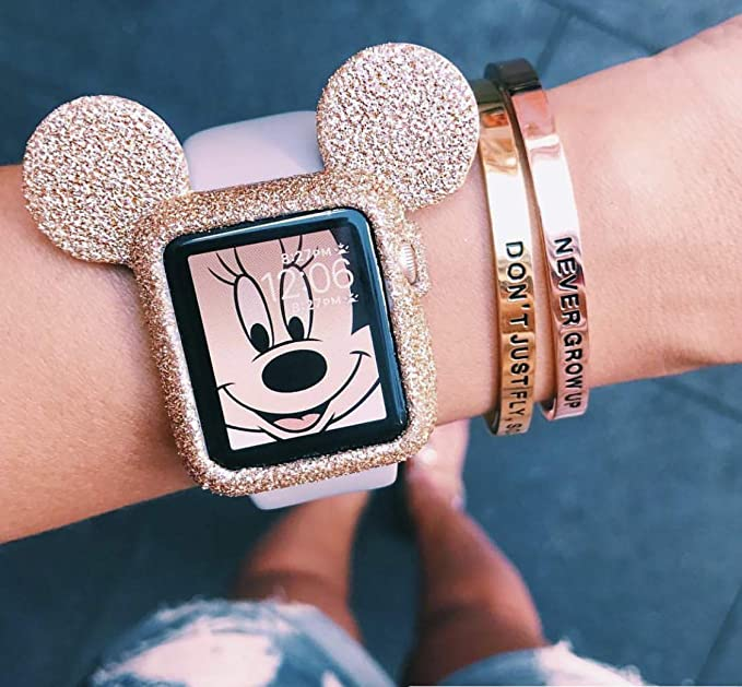 timeless design fde2a 34f08 Amazon.com: SBN Gold Glitter Mickey Apple Watch Case Size 38mm ...