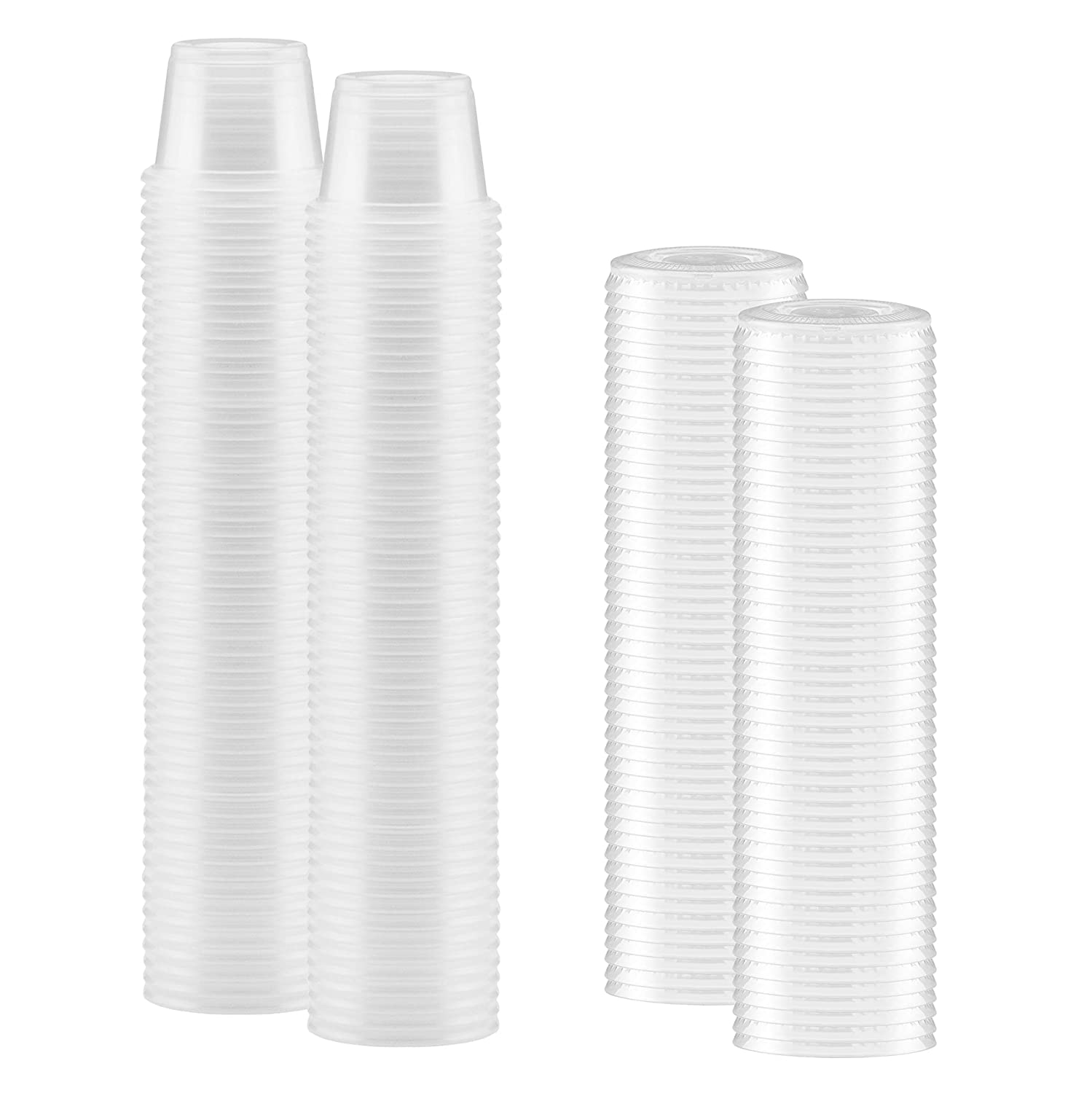 100-Pack of 1-oz Clear Plastic Jello Shot Cups Container with Snap on Leak-Proof Lids –Small Shot Cups – Compact Food Storage Containers for Portion Control, Sauces, Spices, Liquid, Dips,