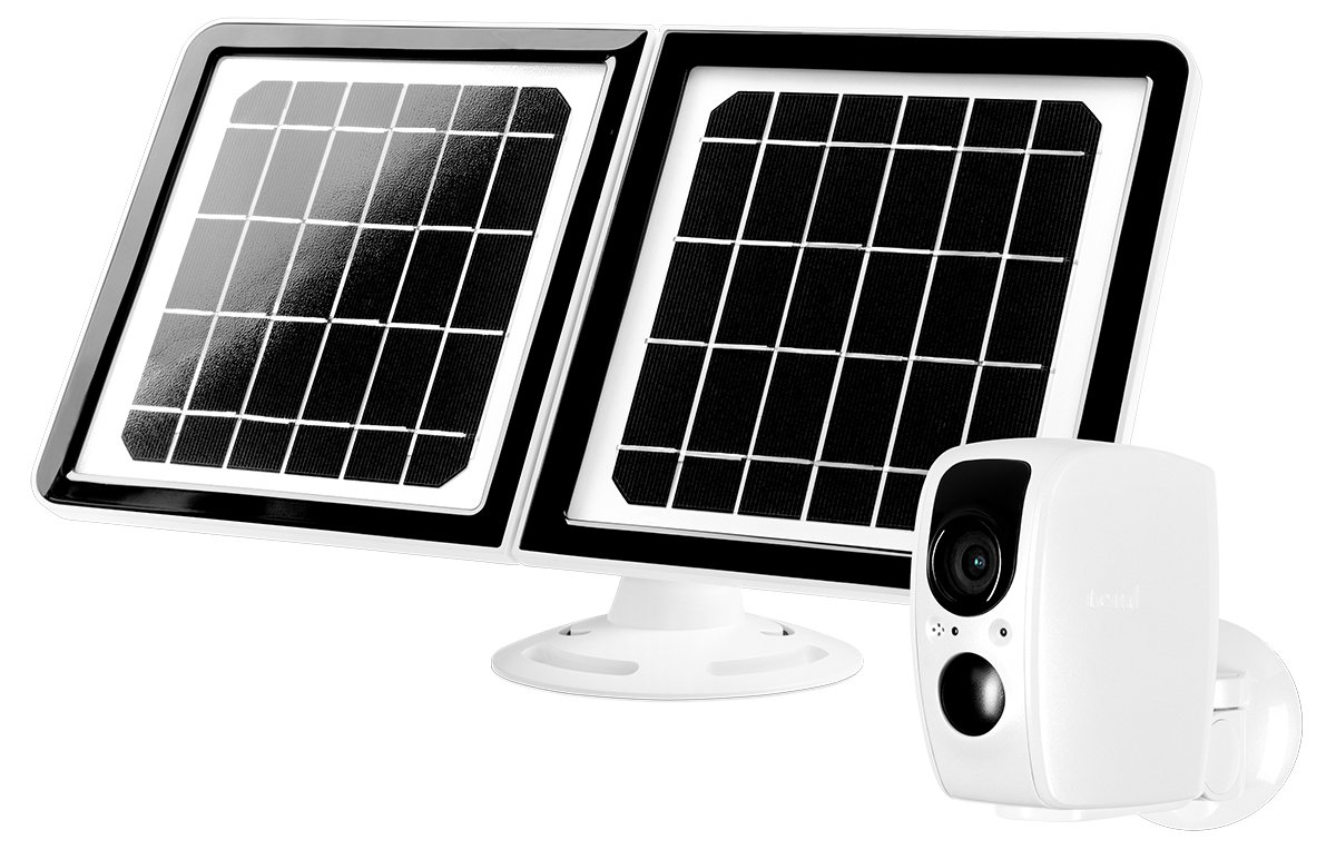 Lynx Solar Weatherproof Outdoor Wifi Surveillance Camera With Solar Panel, Facial Recognition, Night Vision, White by Chamberlain