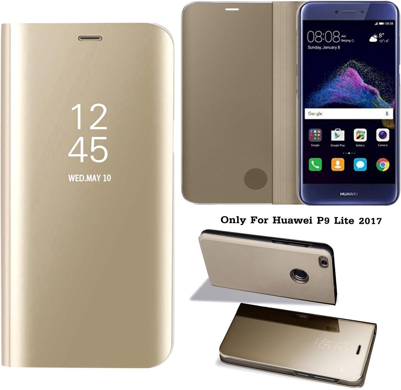 Guran® Mirror Efecto Espejo Funda para Huawei P9 Lite 2017 Clear View Función de Soporte Plegable Smartphone Funda Protectora (Golden): Amazon.es: Electrónica