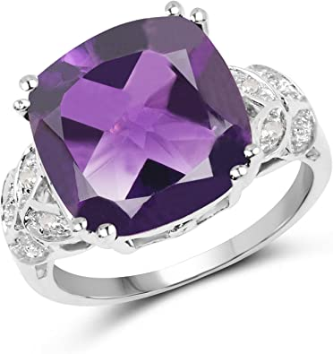 Genuine Amethyst /& White Topaz Round Solid 925 Sterling Silver Solitaire Rings