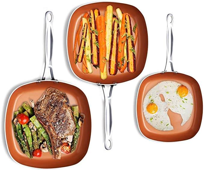 GOTHAM STEEL NONSTICK COPPER SQUARE SHALLOW PAN 3 PIECE