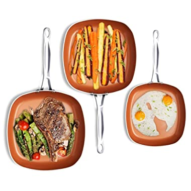 Gotham Steel 1682 Nonstick Copper Square Shallow Pan 3 Piece Cookware Set – As Seen on TV by Chef Daniel Green, Large, Brown