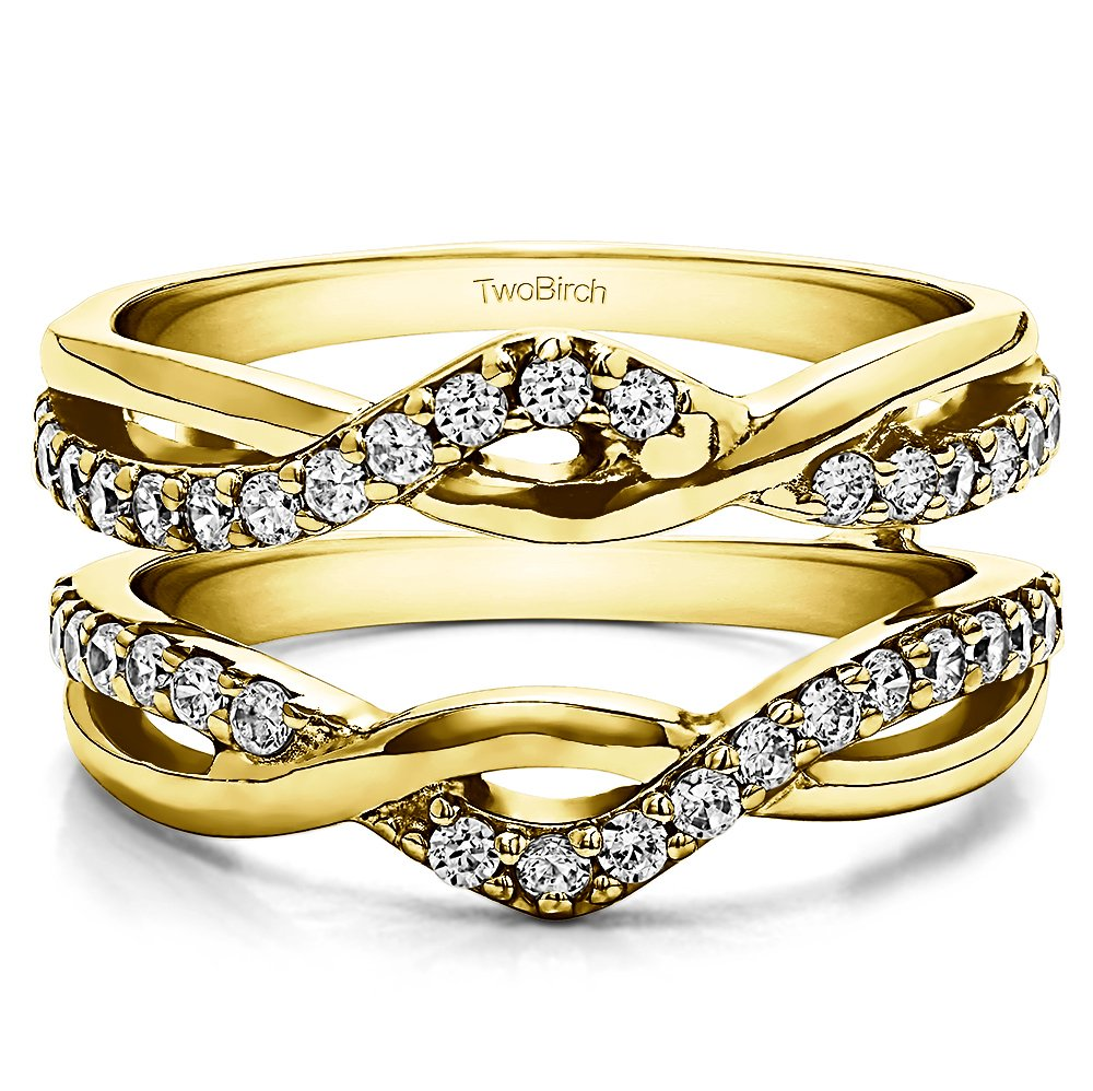 0.23 ct. Diamonds (G-H,I2-I3) Criss Cross Infinity Ring Guard Enhancer in Yellow Plated Sterling Silver (1/4 ct. twt.)