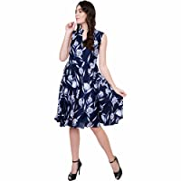 TASHI FIT & Flare Knee Length Crepe Dress for Women
