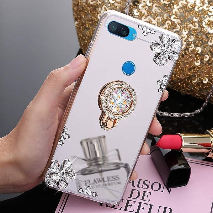 JAWSEU Funda Brillante Compatible con Xiaomi Mi 8 Lite, Transparente Brillo Espejo Suave Silicona TPU Gel Goma Funda con Anillo Soporte Crystal Bling ...