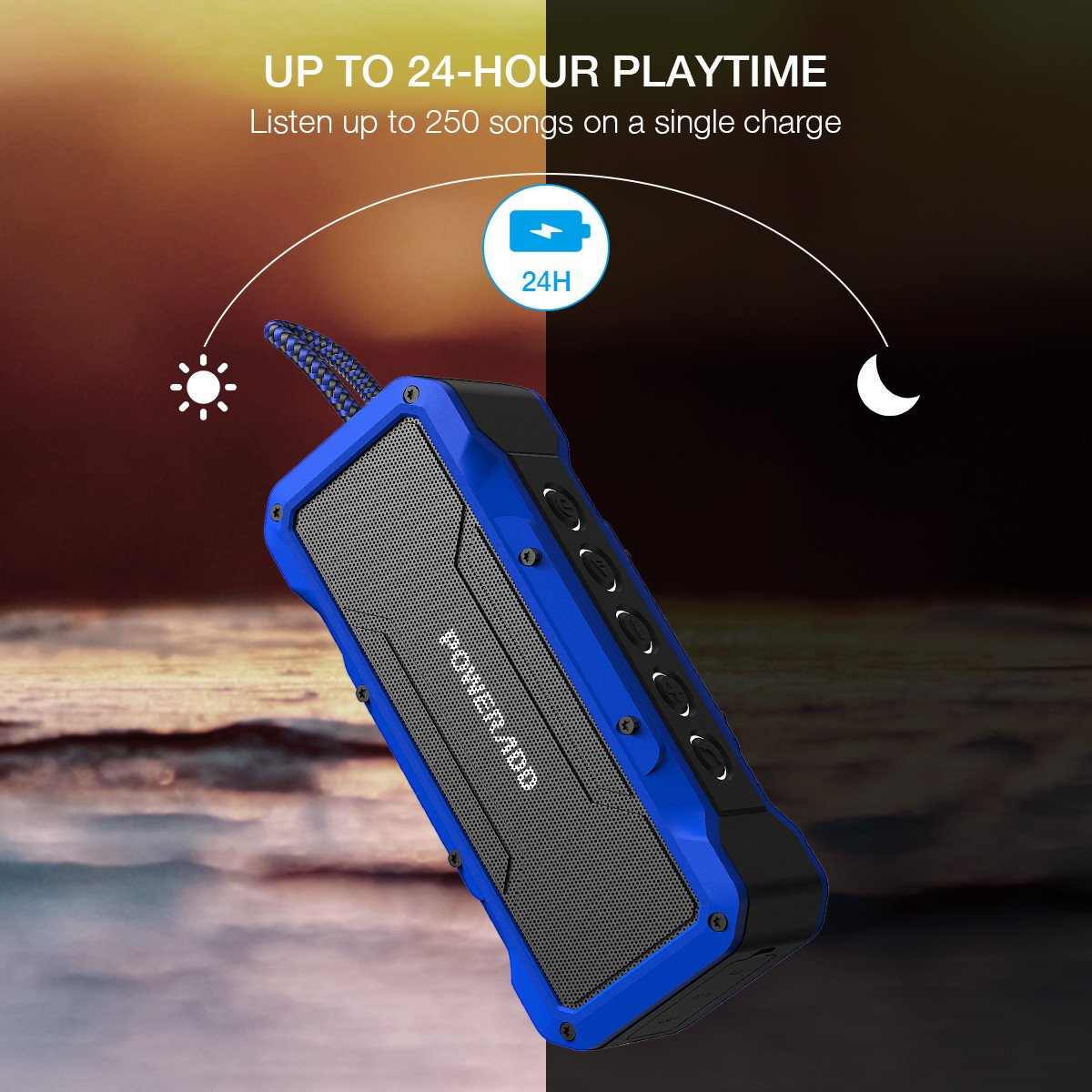 Poweradd MusicFly Outdoor Portable Bluetooth Speaker, 36W Speakers,Loud Volume,Dynamic Stereo,HD Sound, IPX7 Waterproof, Sandproof, Shockproof,Built in Mic,USB Charging Port, Blue