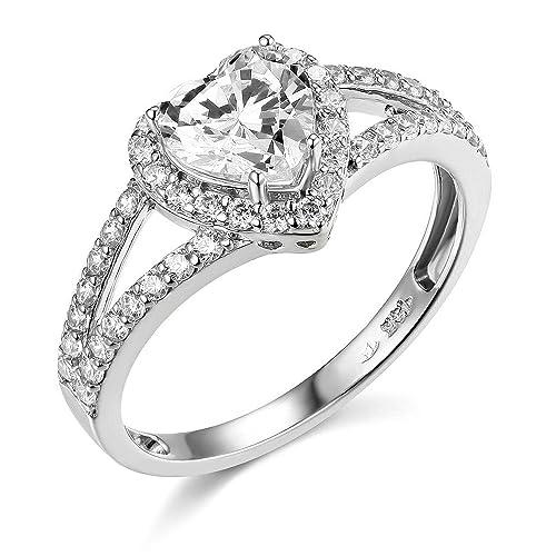 Plata de Ley Circonita CZ en forma de corazón boda anillo de compromiso: Amazon.es: Joyería