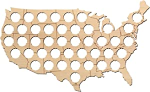 USA Beer Cap Map with States Boardes - 17x10 inches - 43 caps - Beer Cap Holder USA - Birch Plywood