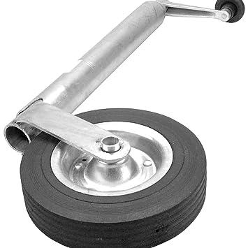 Cartrend 70136 Ruedecita de apoyo para remolque de transporte o vivienda móvil, galvanizada, 48 mm, neumáticos de goma maciza: Amazon.es: Coche y moto