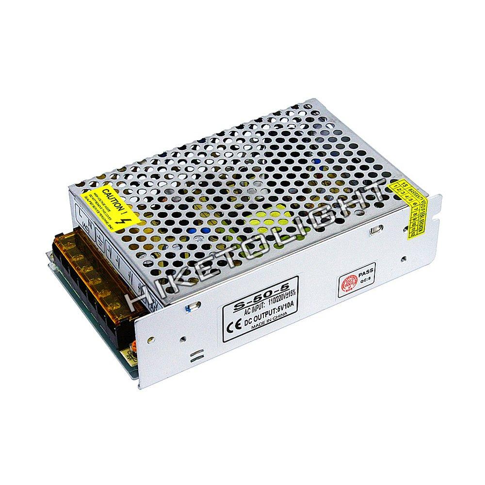 MOVINGTECH LED Power Supply DC Output 5V 10A 50W Aluminum Box Universal Regulated Switching Adaptor Transformer Driver AC Input 110/220V for 5V LED Strip Module CCTV