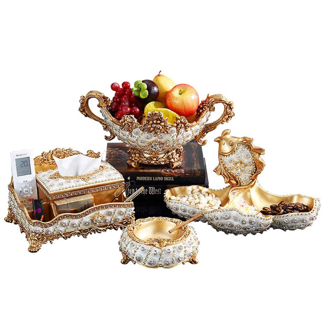 High-end European Fruit Bowl Living Room Decoration Luxury Home Decoration Coffee Table Dried Fruit Plate Four-piece Creative Candy Dish (ashtray Tissue Box Fruit Plate Candy Plate) ( color : Gold )