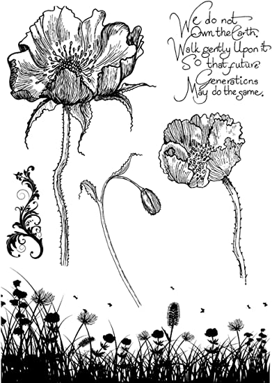 Poppy Meadow 9.25 by 6.25-Inch IndigoBlu PMIMTD Cling Mounted Stamp
