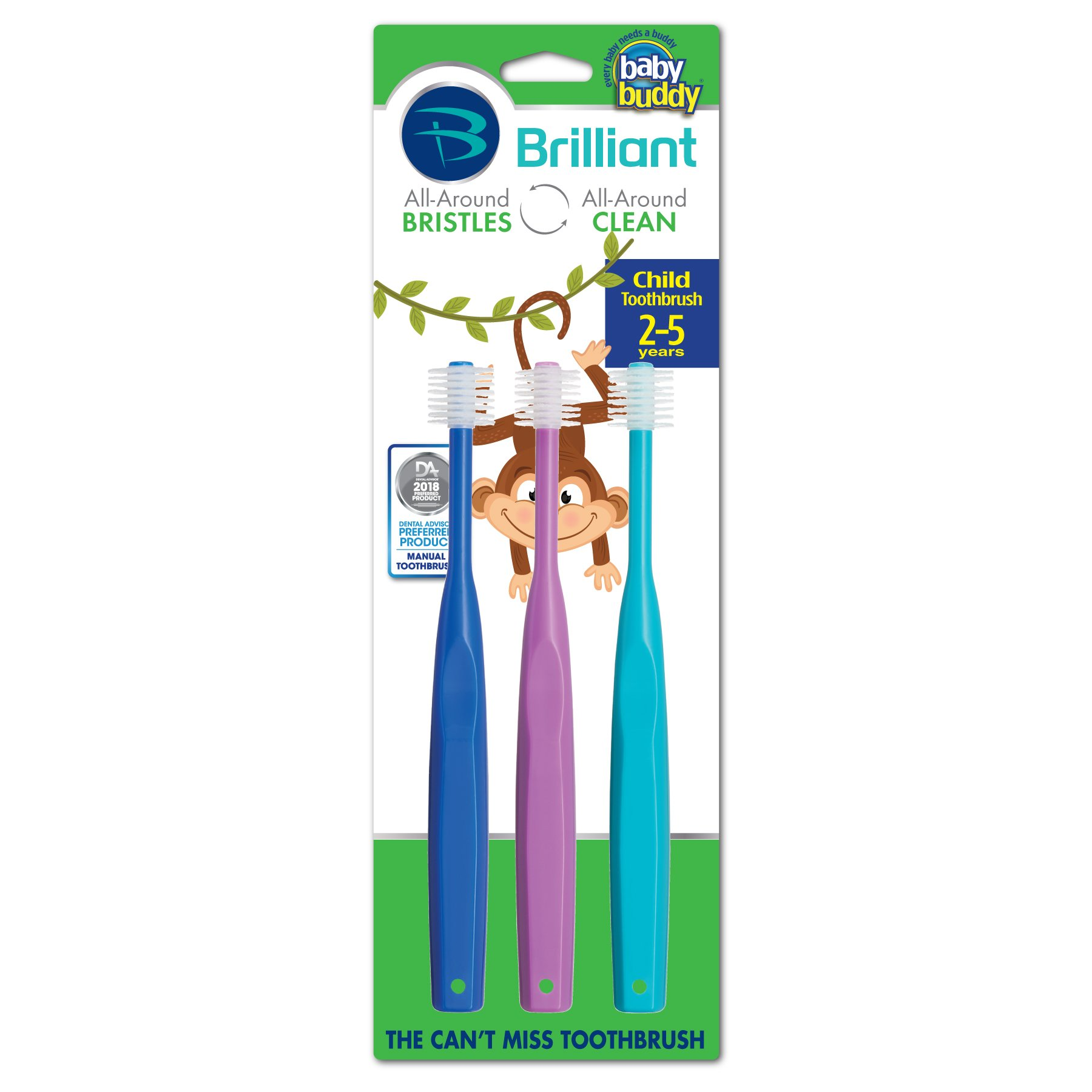 Brilliant Child Toothbrush by Baby Buddy - For Ages 2+ Years, BPA Free Super-Fine Micro Bristles Clean All-Around Mouth, Kids Love Them, Royal-Purple-Teal, 3 Count