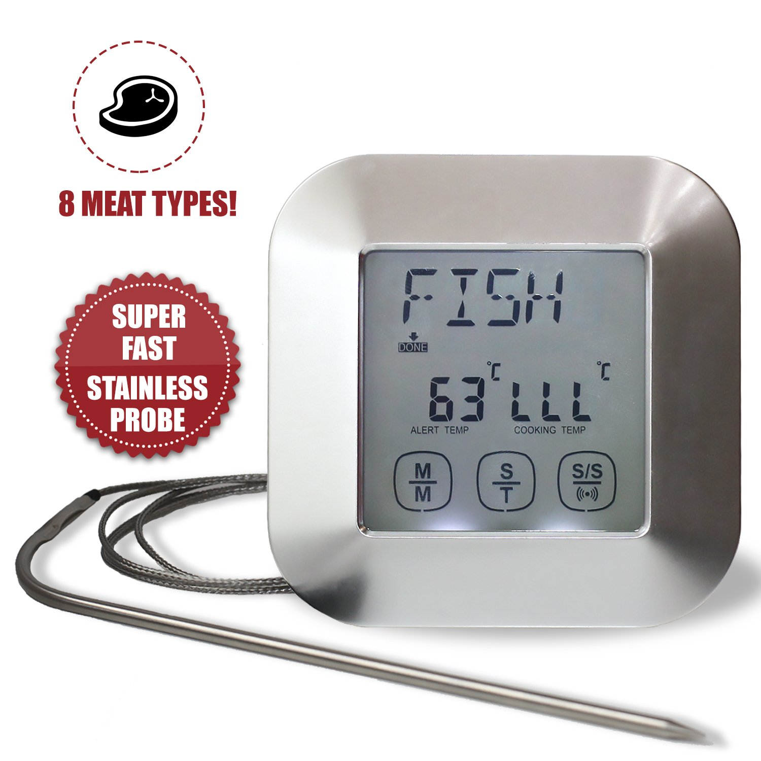 2 in 1 Touch Screen Digital Kitchen Food Thermometer with LCD display, Timer, with Stainless steel Probe, ideal for Meat, BBQ, Grill. iHubr