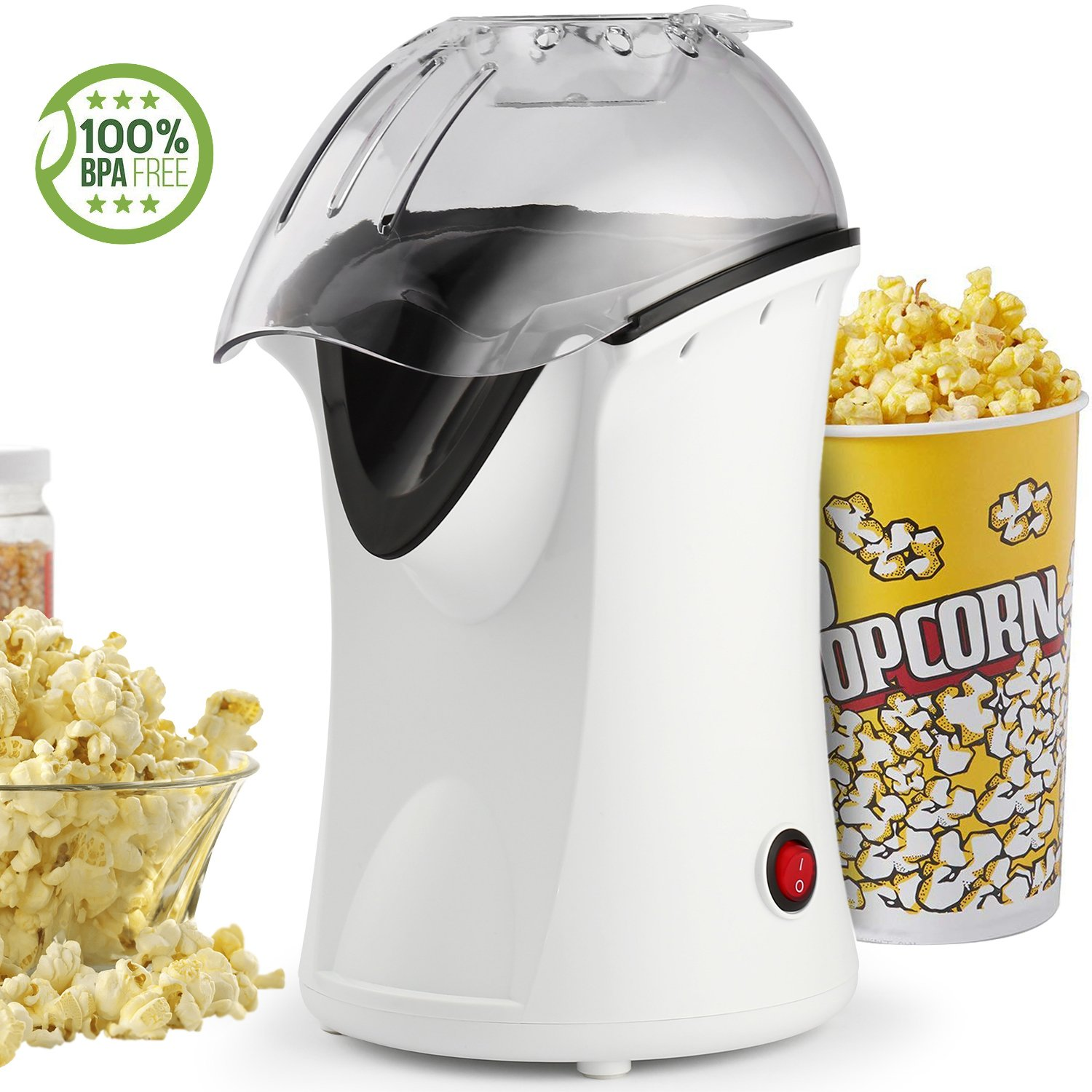 Anfan Popcorn Maker, 1200W Fast Popcorn Machine, Hot Air Popcorn Popper with Wide Mouth Design, No Oil Needed, Including Measuring Cup and Removable Lid (White)