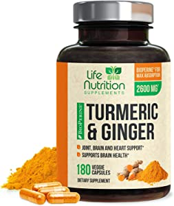 Turmeric Curcumin 95% Standardized with BioPerine and Ginger 2600mg - Black Pepper for High Absorption, Made in USA, Vegan Joint Support, Turmeric Ginger Pills - 180 Capsules