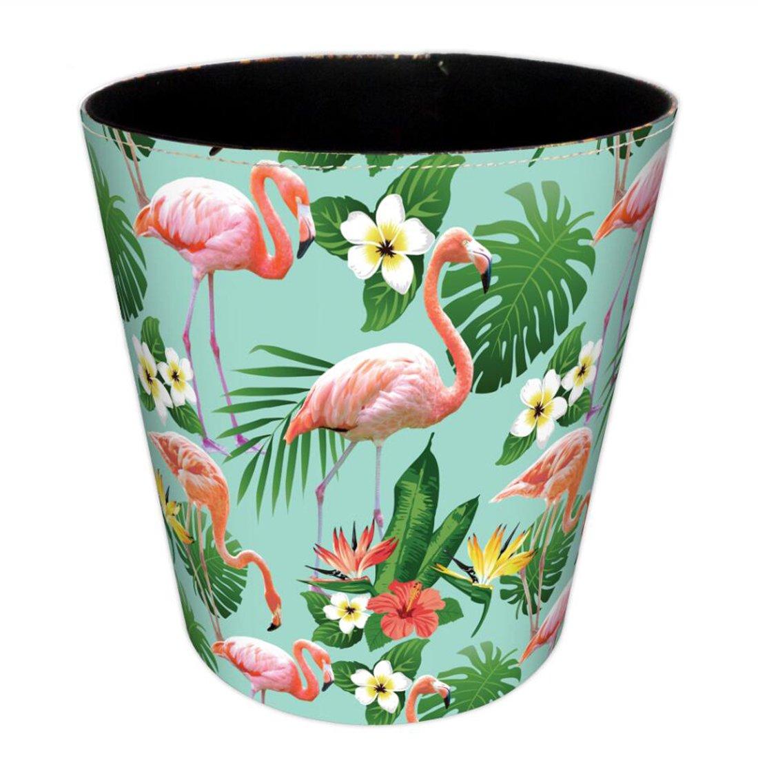 Bedroom Bin, Foxom PU Leather Wastebasket Waste Paper Bin for Bedroom, Living Room, Kitchen, Office - Flamingo Pattern