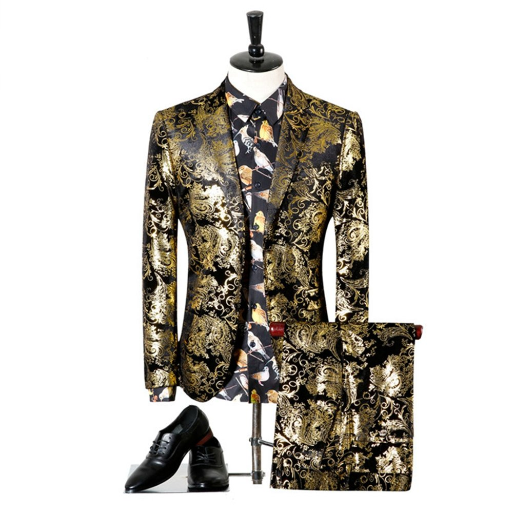577Loby Men Suits For Wedding Black Gold Tuxedo Jacket Designer Suits by 577Loby