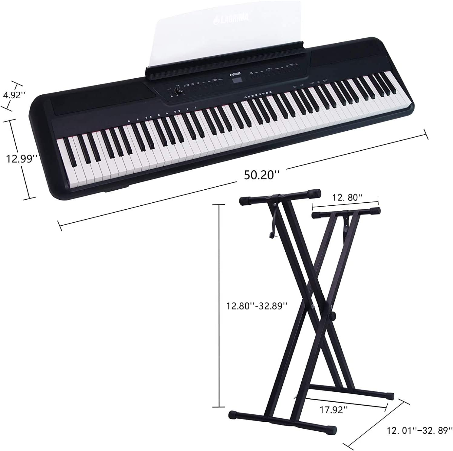 X Stand,Sustain Pedal,Power Adapter Assile 88 Key Digital Piano Electric Piano Portable Piano for Beginner Adults with Standard Keys