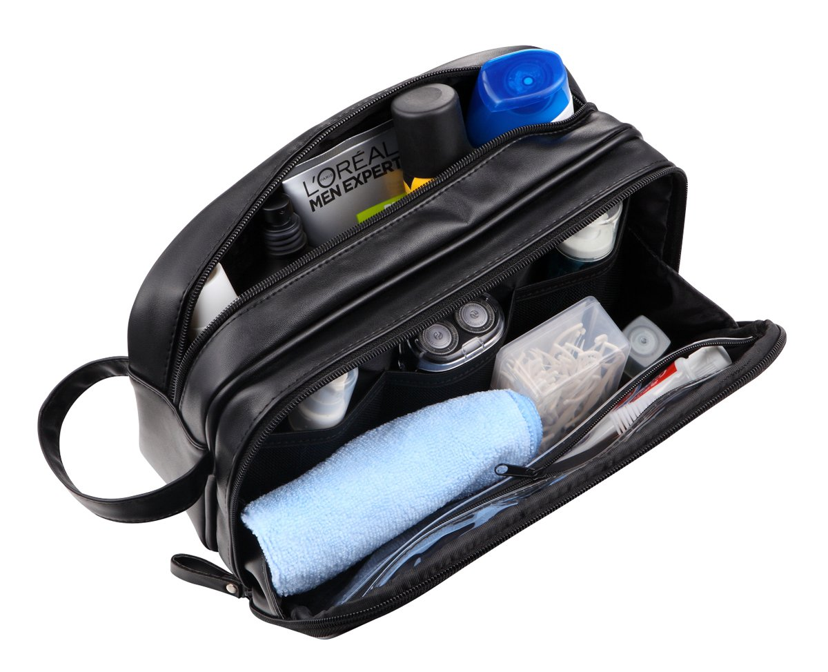 WODISON Large Capacity PU Leather Travel Toiletry Bag Dopp Kit for Men Black MaxFly