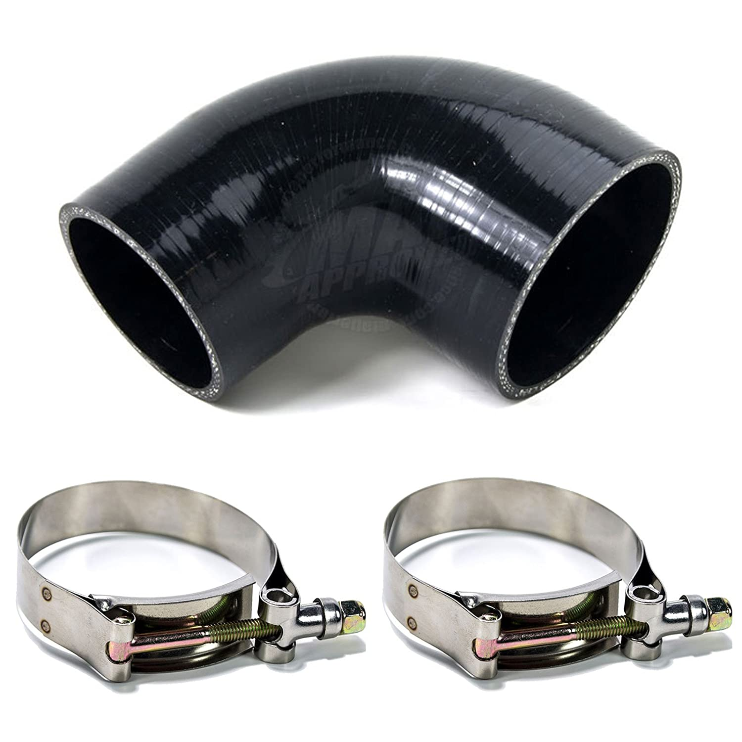 Squirrelly 2.5' to 2.25' inch Black Silicone Reducer Coupler 90 Degree w/ 2x T-Bolt Clamps Squirrelly Performance Parts