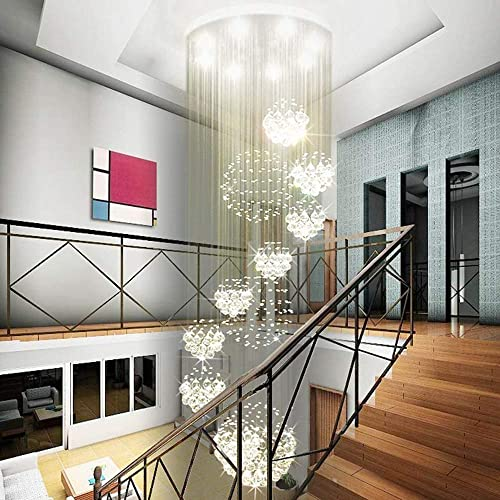 SILJOY Modern Spiral Sphere Raindrop Crystal Chandelier Lighting Large Raindrop Flush Mount Ceiling Lights for Staircase D31.5 x H71