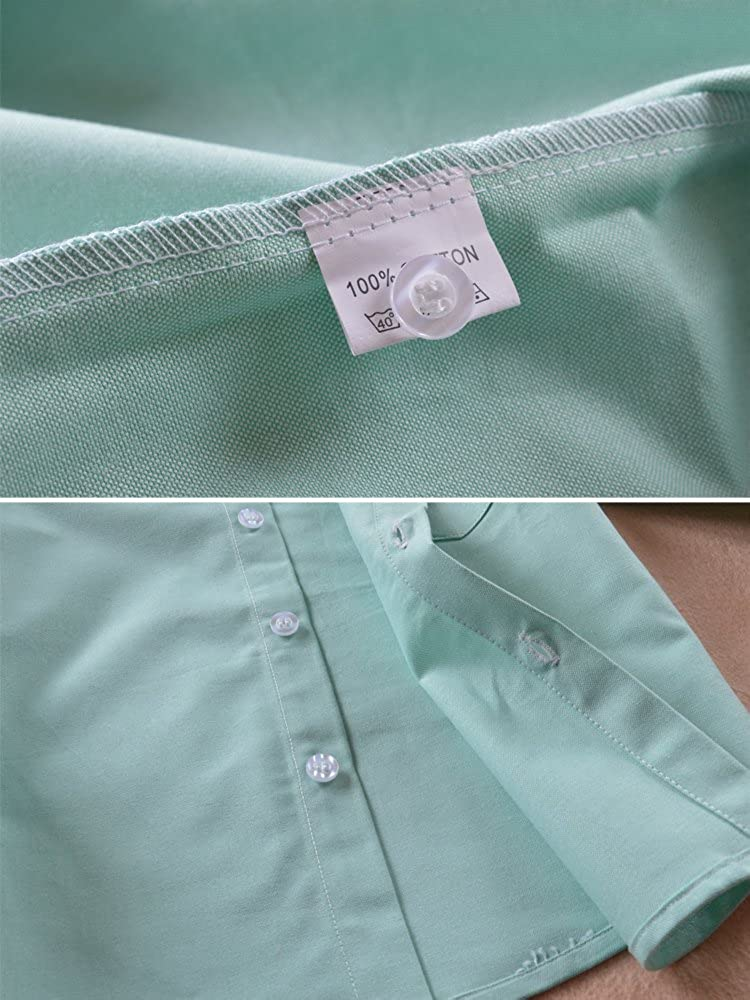 OCHENTA Mens Boys Long Sleeve Button Down Oxford Shirt Little Big Kids Dress Tops