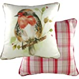 Piped Country Robin Padded Cushion 43x43cm by Evans of Lichfield DPA318