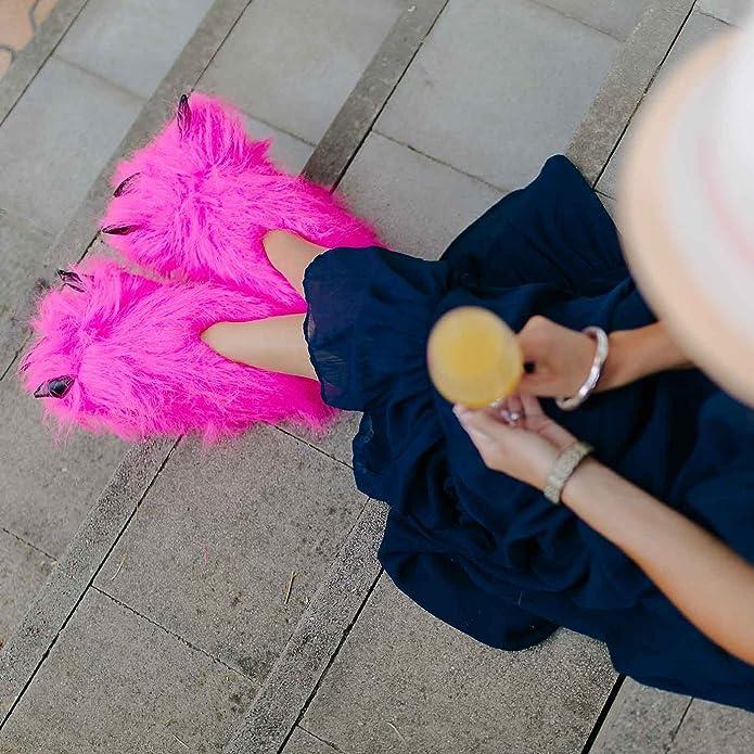 Funslippers Chaussons Pattes Griffes Animaux Fantaisie Rose Adultes et Enfants avec Semelle Caoutchouc Solide Tailles 39-42 HB6EOuah4