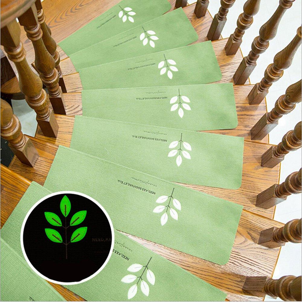 55/x 22/cm brillance la nuit / | protection durable Ehonestbuy Motif feuilles lumineux Lot de tapis de marches descalier/ muet vert antid/érapante