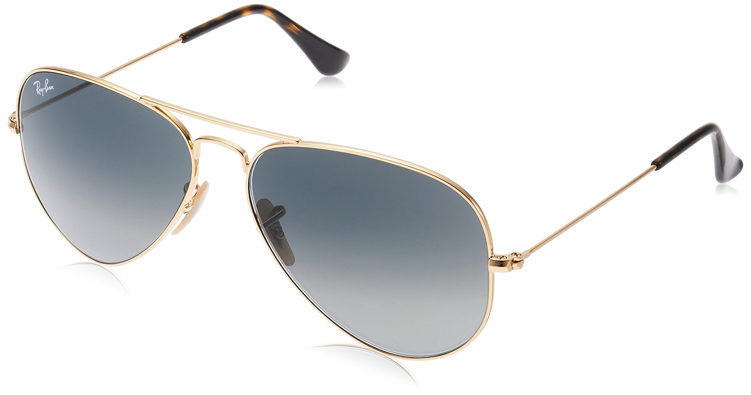 Ray-Ban 3025 Aviator Large Metal Non-Mirrored Non-Polarized Sunglasses, Gold/Light Grey Gradient Dark Grey (181/71), 58mm