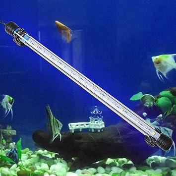 Acuario Peces Tanque RMS 37 cm 18 LED 4 W 5050 SMD azul/blanco barra de luz bajo el agua sumergible resistente al agua para lámpara nos enchufe: Amazon.es: ...