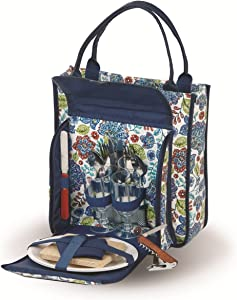 Wine & Picnic Tote for 2 Person with a Thermal Foil Insulated Food Compartment, Set of Two (2) Melamine Dinner Plates, Stainless Steel Utensils (16 Pieces Included) (Blue Peacock)