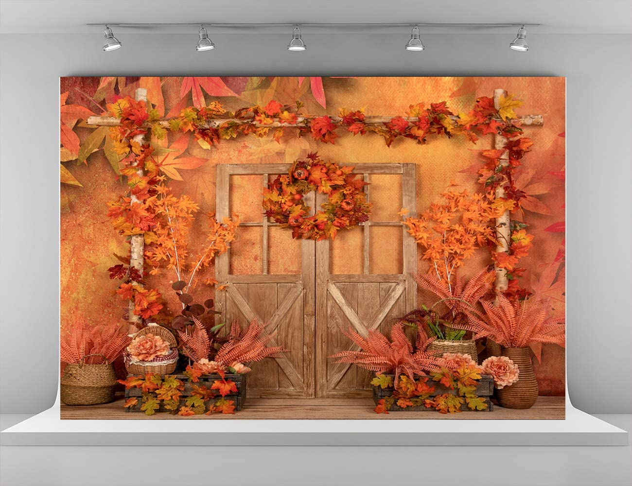 Kate 8x8ft Autumn Photography Backdrops Fall Maple Leaves Backgrounds Children Kids Photo Background Microfiber Party Decoration Backdrop for Photoshoot