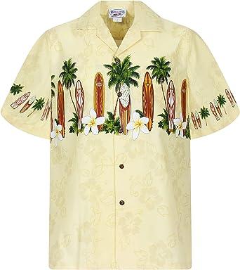 Pacific Legend | Original Camisa Hawaiana | Caballeros | S - 4XL | Manga Corta | Bolsillo Delantero | Estampado Hawaiano | Tablas De Surf | Amarillo