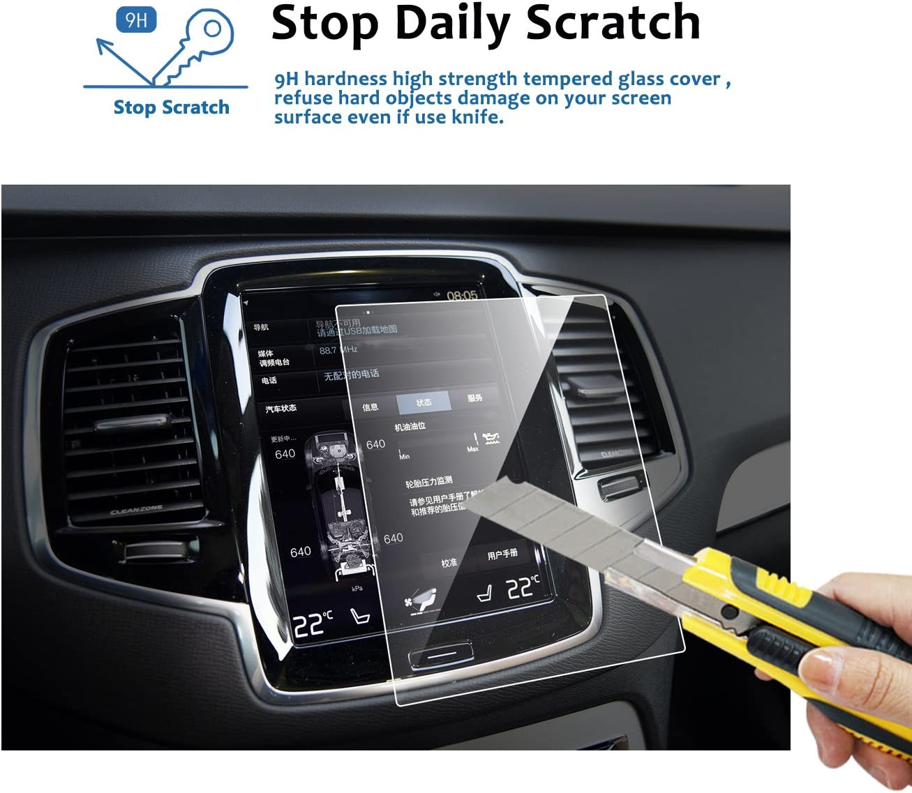 Car Navigation + Air Conditioning Display Screen Protector Against Scratch High Clarity LFOTPP 2016 2017 Volvo V90 XC90 2PCS Tempered Glass Center Touch Screen Protector