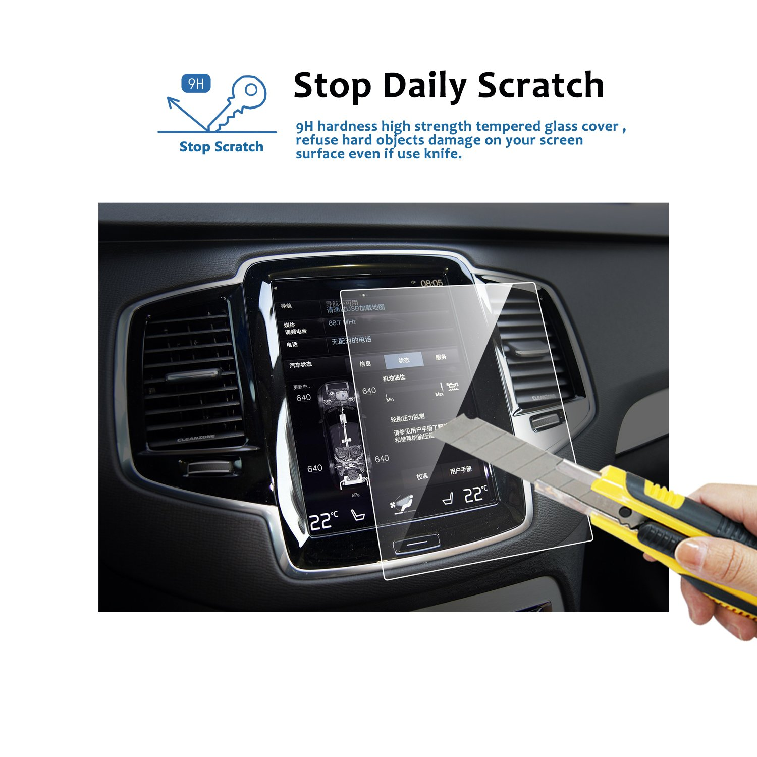 LFOTPP Volvo V90 XC90 2016-2019 2PCS Car Navigation and Air Conditioning Display Screen Protector Clear Tempered Glass Center Touch Screen Protector Against Scratch High Clarity