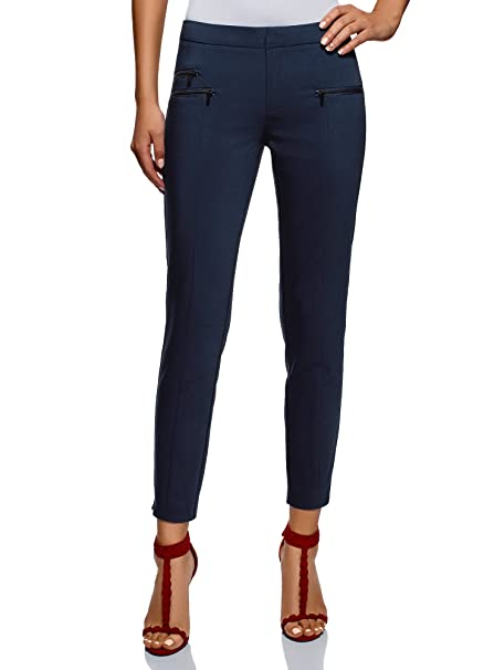 f34fcb2b8f98a8 oodji Ultra Donna Pantaloni Stretti con Zip Decorative: Amazon.it:  Abbigliamento