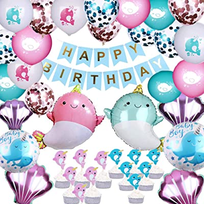 Dxary Narwhal Birthday Party Supplies Kit, Narwhal Theme Birthday Decorations Include Narwhal Ballons, Narwhal Theme Cupcake Topper and Blue Birthday Banner Set for Kids Ocean Theme Birthday Party: Health & Personal Care [5Bkhe1802789]
