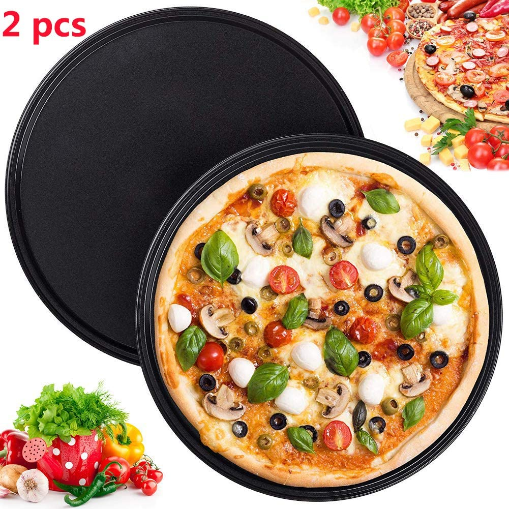 2 Pack Pizza Tray 10-inch Professional Pizza Round Pan Tray Dish Non-Stick Carbon Steel Baking Sheet for Oven Cake Cookies Pan Baking(Black)