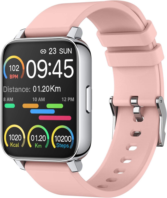"""Smartwatch, Reloj Inteligente Mujer Pantalla TFT de 1,69"""", Pulsera Actividad con Monitor de Sueño Contador, Pulsómetro, Calorías, Podómetro Fotografía Remota IP67 Impermeable, Rosa Reloj de Fitness"""