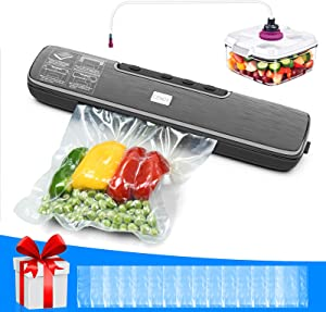 Vacuum Sealer Machine, One-Touch Operation Food Vacuum Sealer, Food Sealers Vacuum Packing Machine with 15pcs Bags Full Starter Kit - Dry & Moist Food Sealer Modes