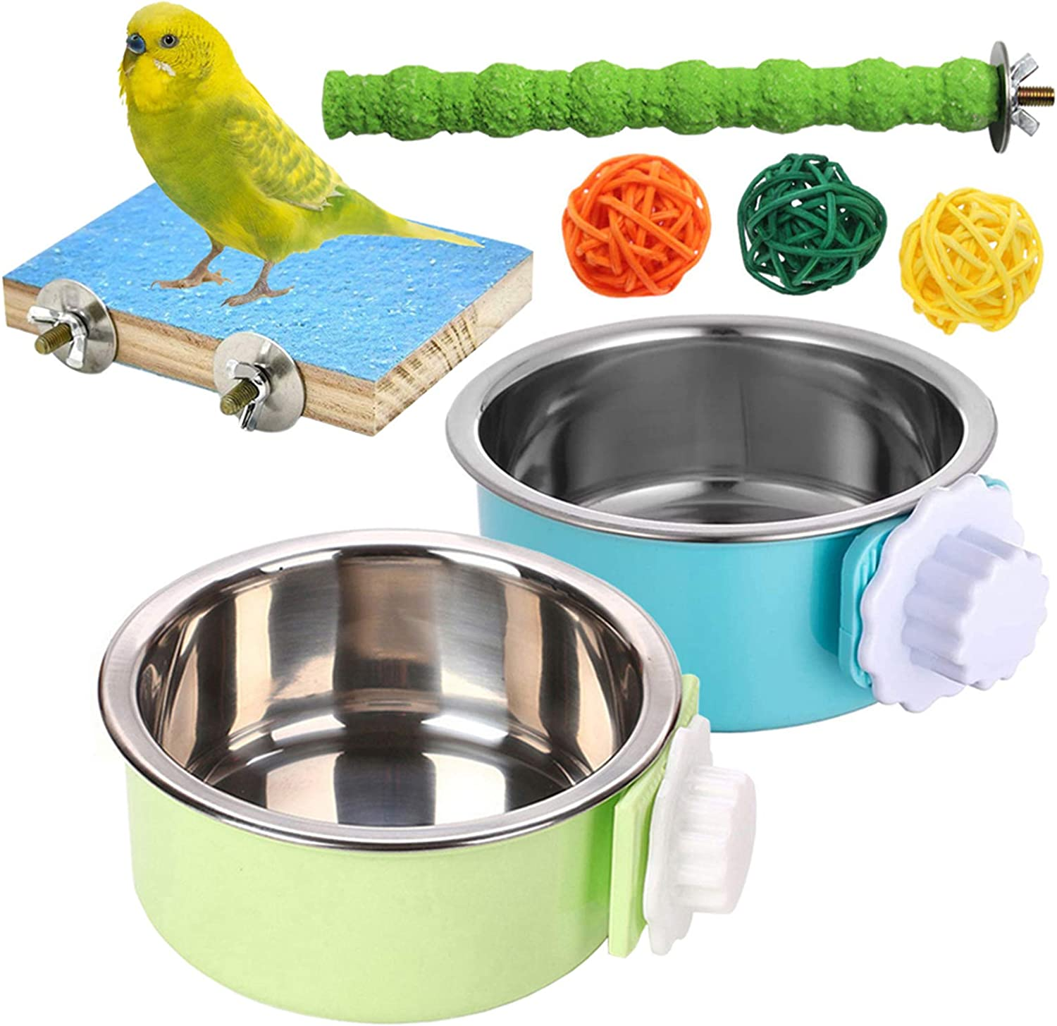 kathson Bird Parrot Feeding Cups, Stainless Steel Coop Cups Food & Water Bowl Feeder Dish Cup with Parrots Perch Stand Platform Toy for Lovebird Budgies Finches Cockatiel(7 PCS)