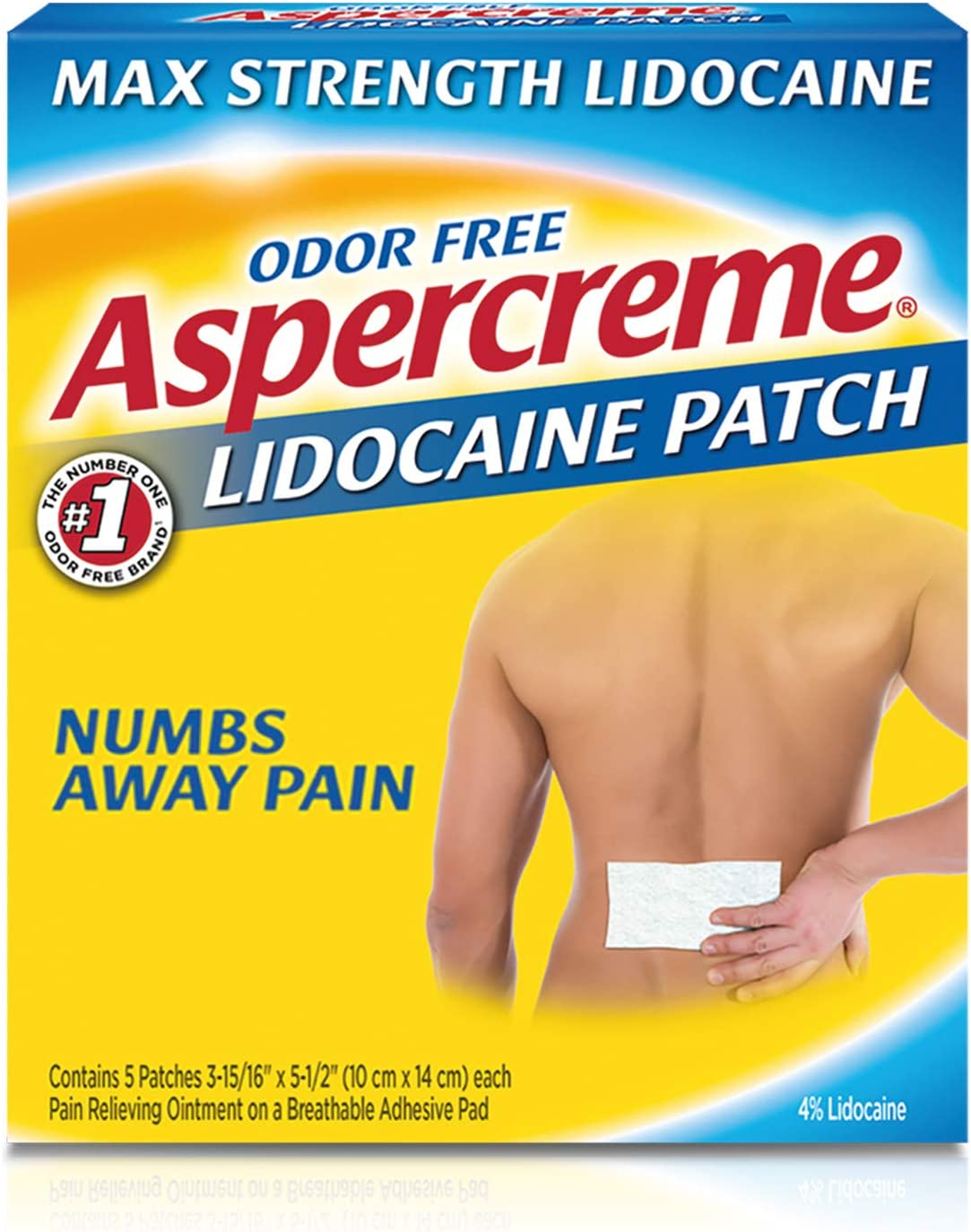 Amazon.com: Aspercreme Odor Free Max Strength Lidocaine Pain Relief Patch  for Back Pain, 5 Count, Aspercreme Max Strength Pain Relieving Lidocaine  Patch , 3.94 X 5.5 -Inch (5 Count): Health & Personal Care