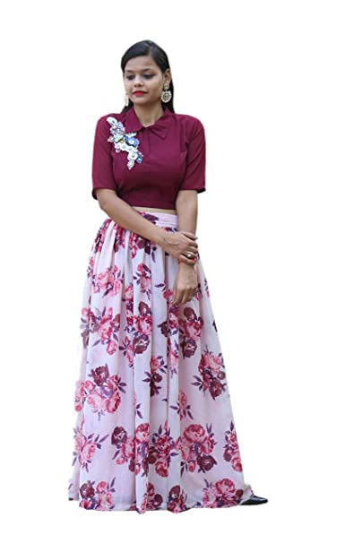 ab98a7bb5e169 lykwe official Women Regular Fit Georgette Crop Top and Skirt  (A14 Xs Multi-Coloured )